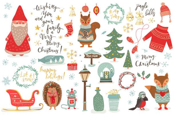 Hand drawn Christmas set in cartoon style. Funny card with cute animals and other elements: fox, mouse, squirrel, hedgehog, bird, Santa, Christmas tree, lettering. Vector illustration Hand drawn Christmas set in cartoon style. Funny card with cute animals and other elements: fox, mouse, squirrel, hedgehog, bird, Santa, Christmas tree, lettering. Vector illustration australian christmas stock illustrations