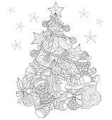 Hand drawn Christmas tree decorations for adult coloring page.