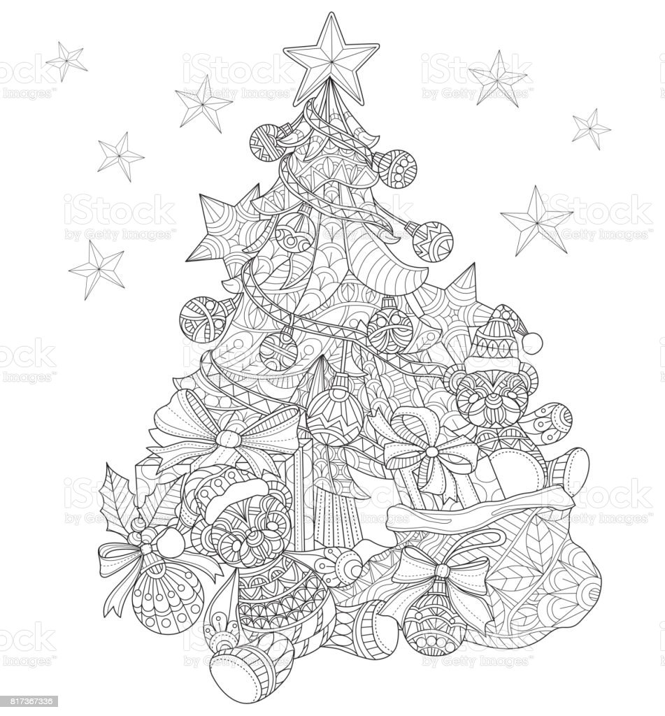 Hand drawn Christmas tree decorations for adult coloring page. vector art illustration
