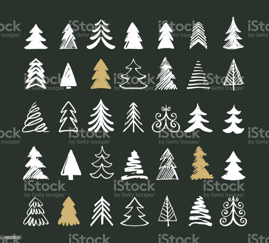 Hand drawn Christmas tree icons and elements vector art illustration