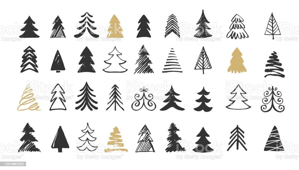 Handgemalte Ikonen Weihnachtsbaum. Kritzeleien und Skizzen - Lizenzfrei Abstrakt Vektorgrafik