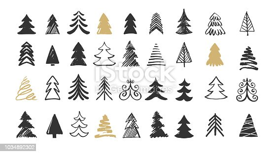Hand drawn Christmas tree icons. Doodles and sketches - stock vector illustrations
