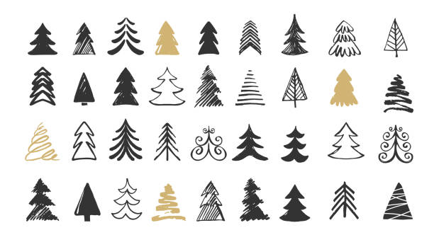 ilustrações de stock, clip art, desenhos animados e ícones de hand drawn christmas tree icons. doodles and sketches - christmas tree