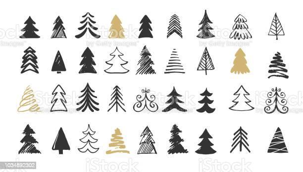Handgemalte Ikonen Weihnachtsbaum Kritzeleien Und Skizzen Stock Vektor Art und mehr Bilder von Abstrakt