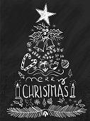 Hand Drawn Christmas Tree on Blackboard.