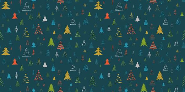 Hand Drawn Christmas Tree Vector Seamless Pattern