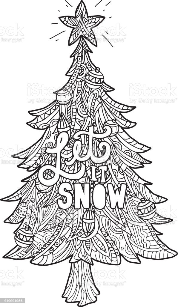 Hand Drawn Christmas Tree With Coloring Page Royalty Free