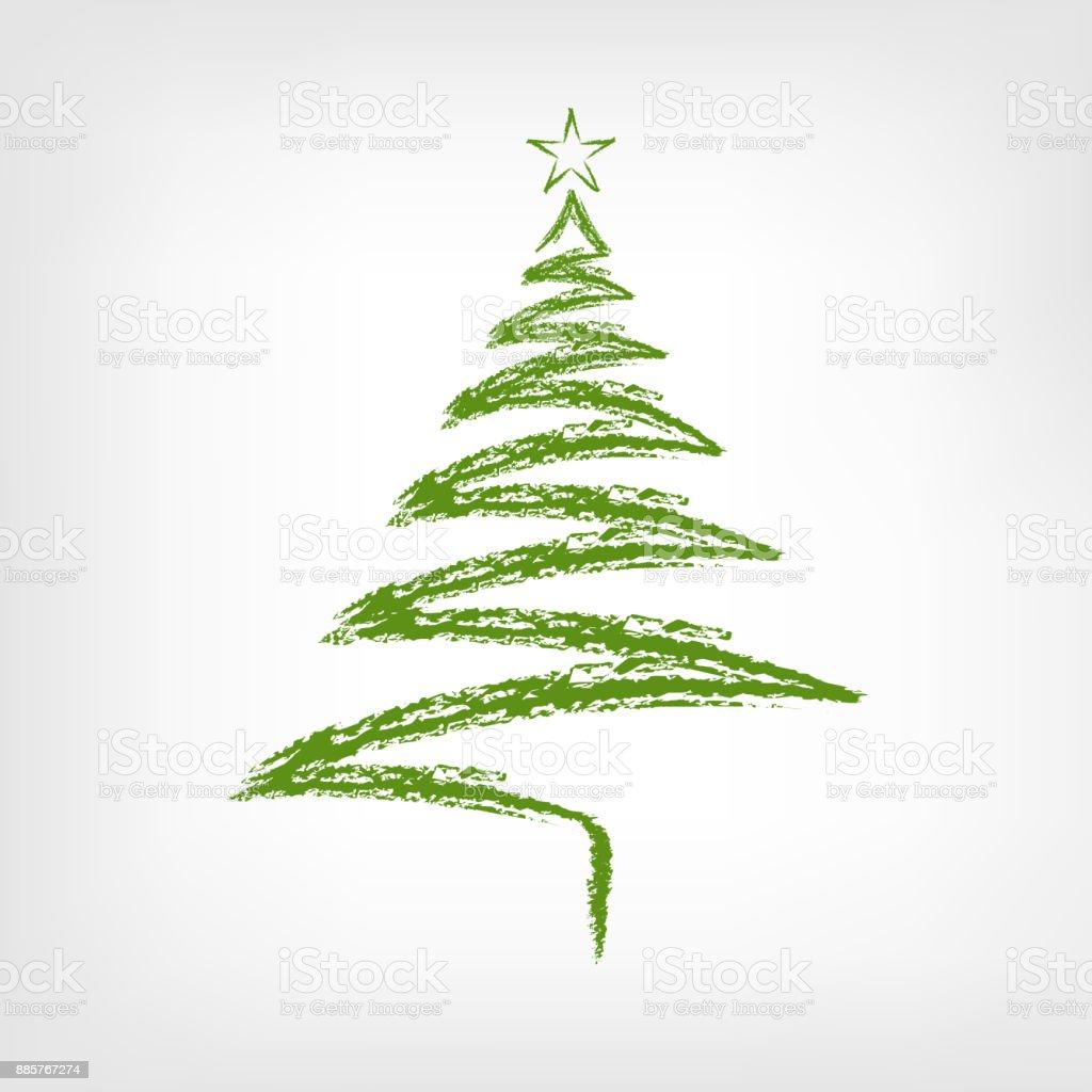hand gezeichnet weihnachtsbaum mit stern. Black Bedroom Furniture Sets. Home Design Ideas