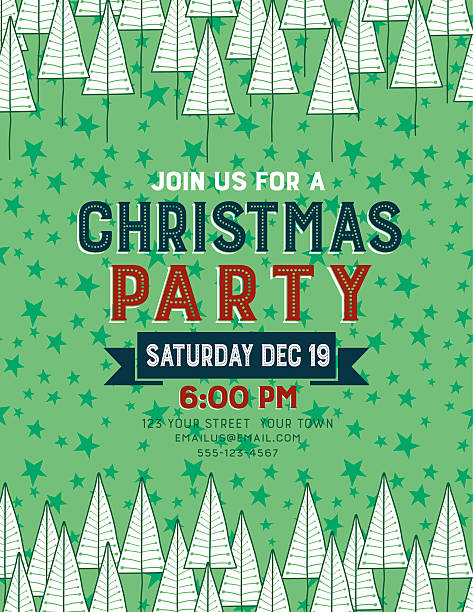 hand drawn christmas trees holiday party invitation template - office party stock illustrations, clip art, cartoons, & icons