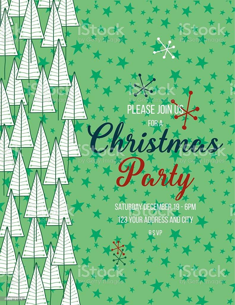 Dibujados a mano árboles de Navidad fondo de plantilla de la invitación - ilustración de arte vectorial