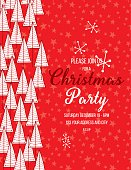 Hand Drawn Christmas Trees Holiday Party Invitation Template