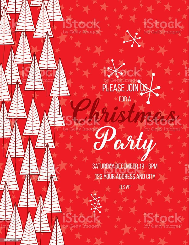 Hand Drawn Christmas Trees Holiday Party Invitation Template vector art illustration