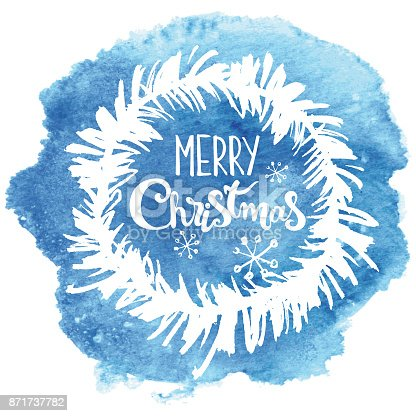 istock Hand drawn christmas wreath on blue watercolor background 871737782