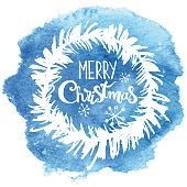 """Vector illustration of hand drawn watercolor texture with """"Merry christmas"""" inscription in the middle, branch wreath and snowflakes on it. All elements are on separate layers und can be used separatly."""