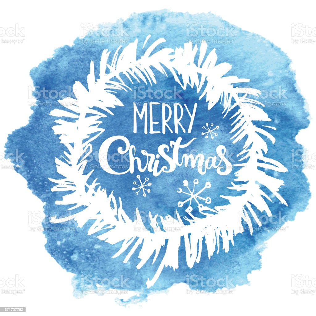 Hand drawn christmas wreath on blue watercolor background vector art illustration