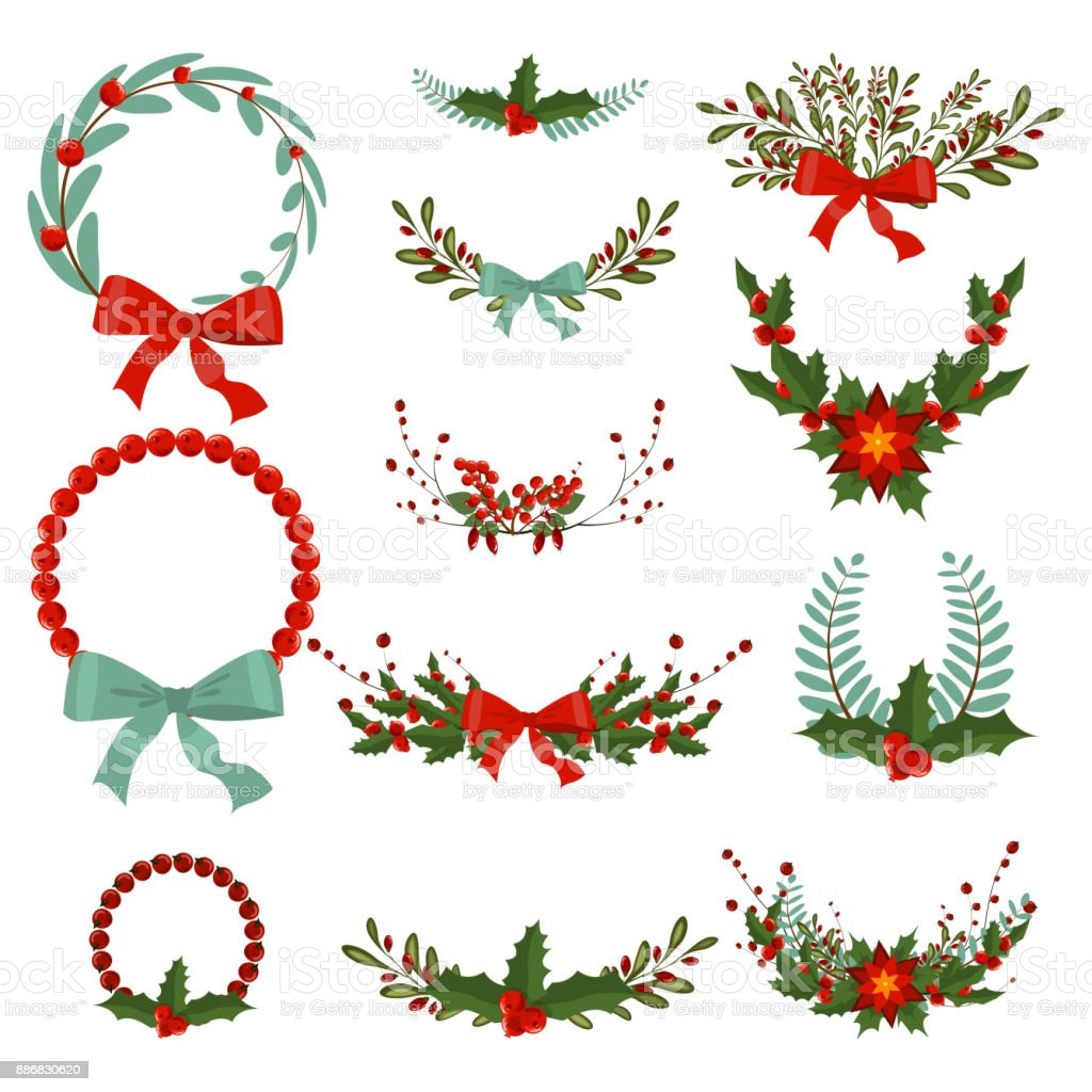 Christmas Wreath Vector.Hand Drawn Christmas Wreath Stock Vector Art More Images