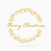 Merry Christmas text with Hand drawn wreath