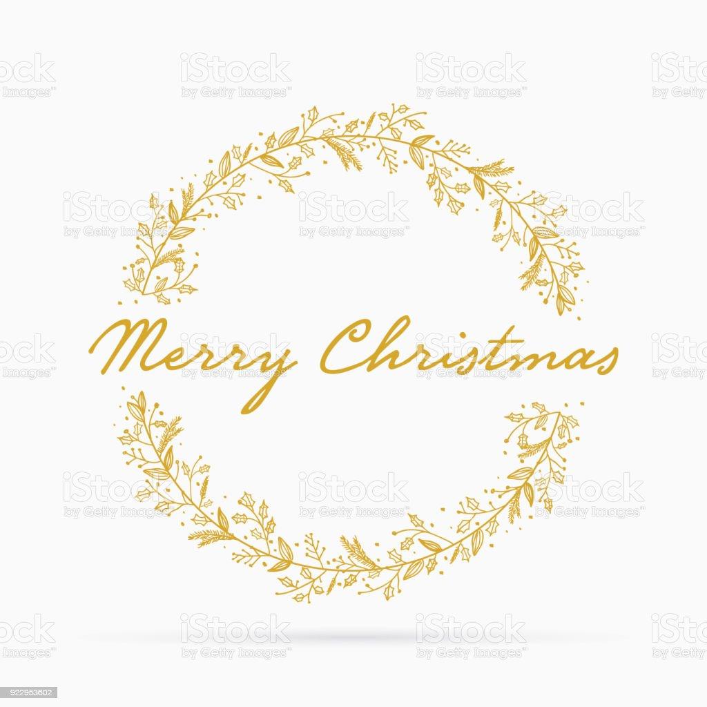 Elle çizilmiş Noel çelenk vektör sanat illüstrasyonu