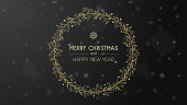 Merry Christmas and happy new year wishes on golden hand drawn wreath
