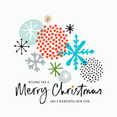 Fun, colorful Christmas, Holiday card with hand drawn elements and greetings.
