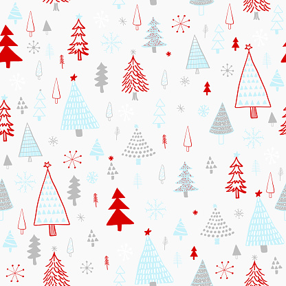 Hand Drawn Christmas/Holiday Trees Pattern. Blue, Gray, Red Christmas Trees, seamless pattern. Forest background. Childish texture for fabric, textile.