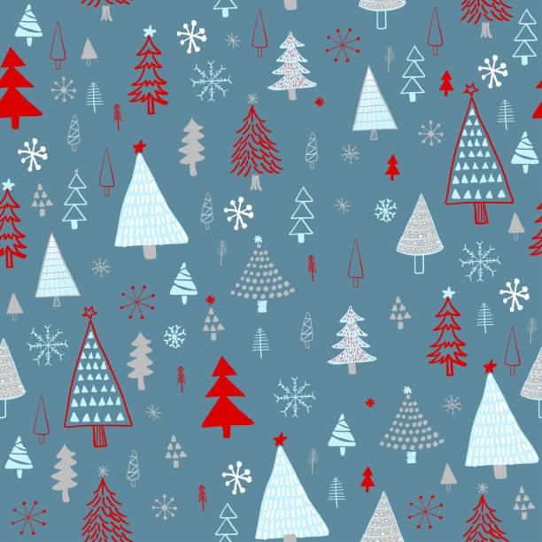 illustrazioni stock, clip art, cartoni animati e icone di tendenza di hand drawn christmas/holiday trees pattern. blue, gray, red christmas trees, seamless pattern. forest background. childish texture for fabric, textile. - sfondo scarabocchi e fatti a mano