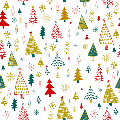 Hand Drawn Christmas/Holiday Trees Pattern. Gold, Green, Red Christmas Trees, seamless pattern. Forest background. Childish texture for fabric, textile.