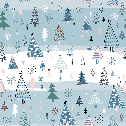 Hand Drawn Christmas/Holiday Trees Pattern. Multıcolored Christmas Trees, seamless pattern. Forest background. Childish texture for fabric, textile.