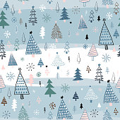 istock Hand Drawn Christmas/Holiday Trees Pattern. Multıcolored Christmas Trees, seamless pattern. Forest background. Childish texture for fabric, textile. 1283836348