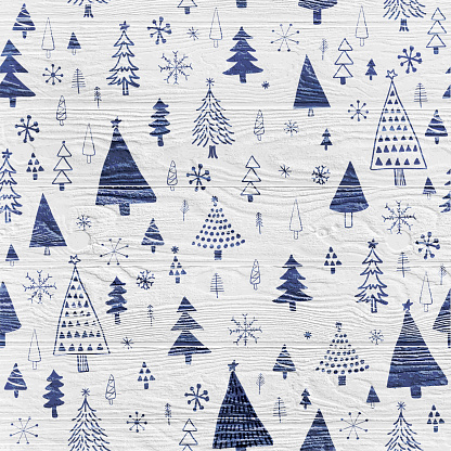 Hand Drawn Christmas/Holiday Trees Pattern. Navy Blue Christmas Trees Background. Forest background. Childish texture for fabric, textile.