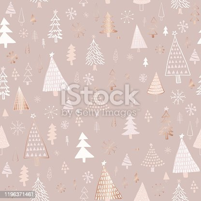 istock Hand Drawn Christmas/Holiday Trees Pattern. Rose Gold, Beige, Nude Colored Christmas Trees, seamless pattern. Forest background. Childish texture for fabric, textile. 1196371461