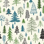 Seamless pattern of hand drawn Christmas or Holiday evergreen trees. AI10 file with uncropped shapes and hi res jpeg included. Scroll down to see more of my designs linked below.