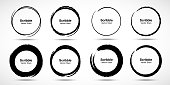 istock Hand drawn circle brush sketch set. Grunge doodle scribble round circles for message note mark design element. Brush circular smears. Banners, Insignias , Logos, Icons, Labels and Badges. Vector 1069240810