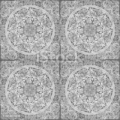 istock Hand drawn Circle Floral Seamless Pattern with White Chalk on Gray Background. Floral  Medallion Pattern, Abstract Mandala Pattern Flowers and Paisley Doodle , Henna Decorative Mandala Tile, Ethnic Flower Decoration Ornament, Floral Indian Design. 1151401416