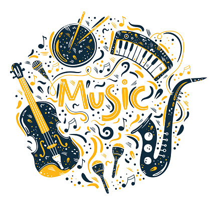 Hand drawn circle illustration with musical instruments and music symbols.