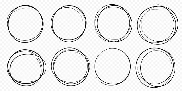 Hand drawn circle line sketch set vector circular scribble doodle round circles