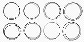 Hand drawn circle line sketch set vector circular scribble doodle round circles