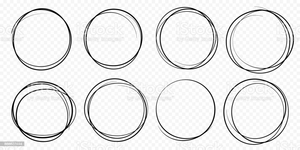 Hand drawn circle line sketch set vector circular scribble doodle round circles vector art illustration