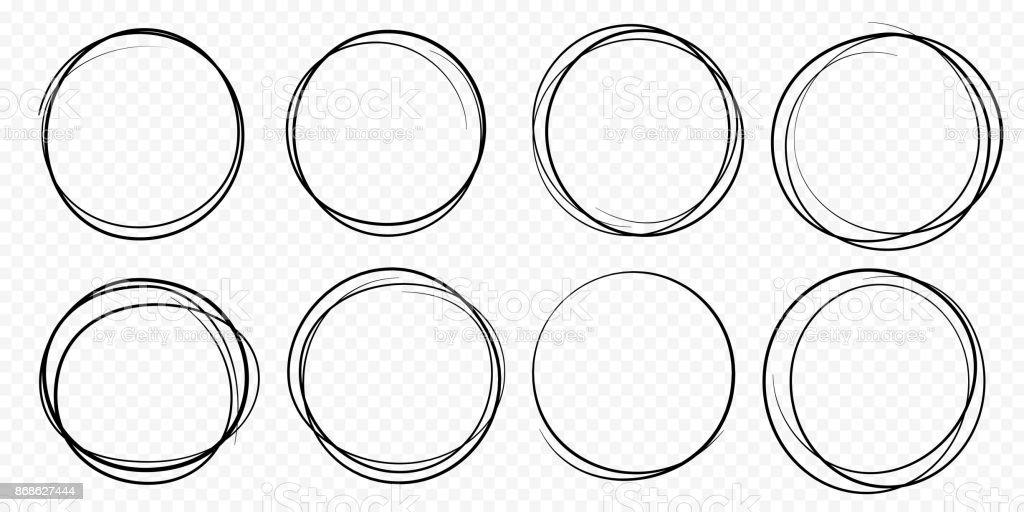 手引かれた円ライン スケッチ セット ベクトル円形落書き落書きラウンド円 ベクターアートイラスト