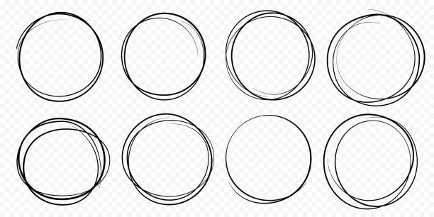 hand drawn circle line sketch set vector circular scribble doodle round circles - ołówek stock illustrations