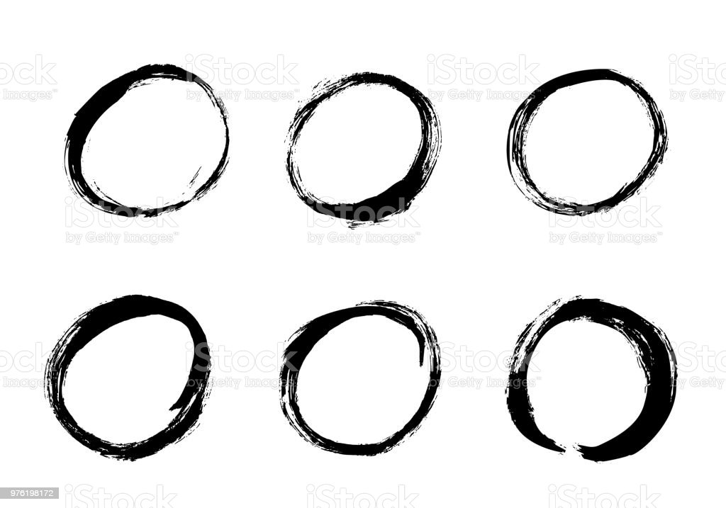 Hand Drawn Circle Set Vector Round Mark Design Element For Quotes