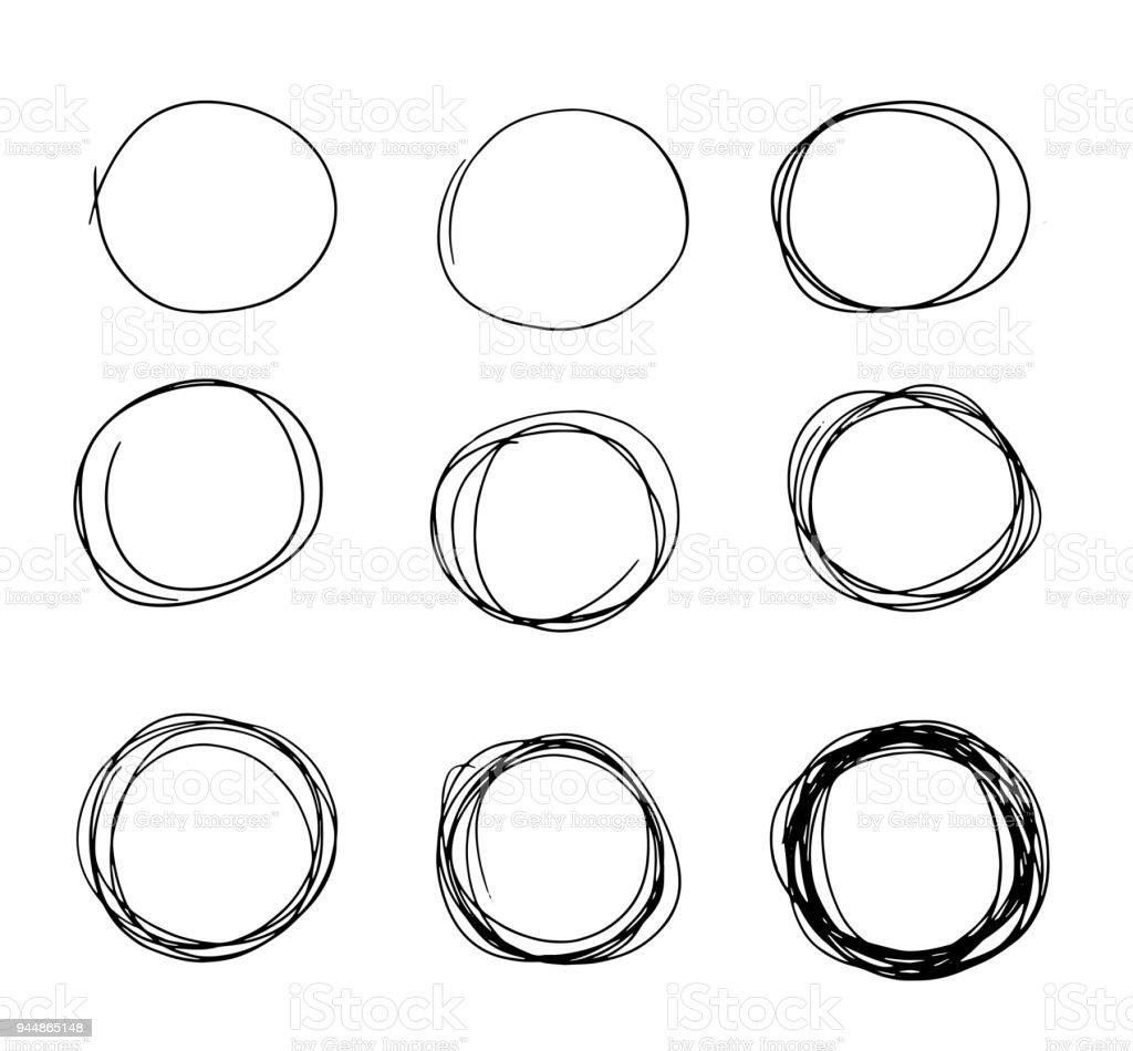 hand drawn circle sketch set doodle pencil line vectorhand drawn