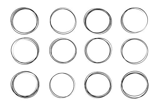 Hand drawn circle sketch set