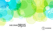 Abstract background with hand drawn circles. Fun, colorful background.