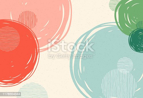 Abstract background with hand drawn circles.