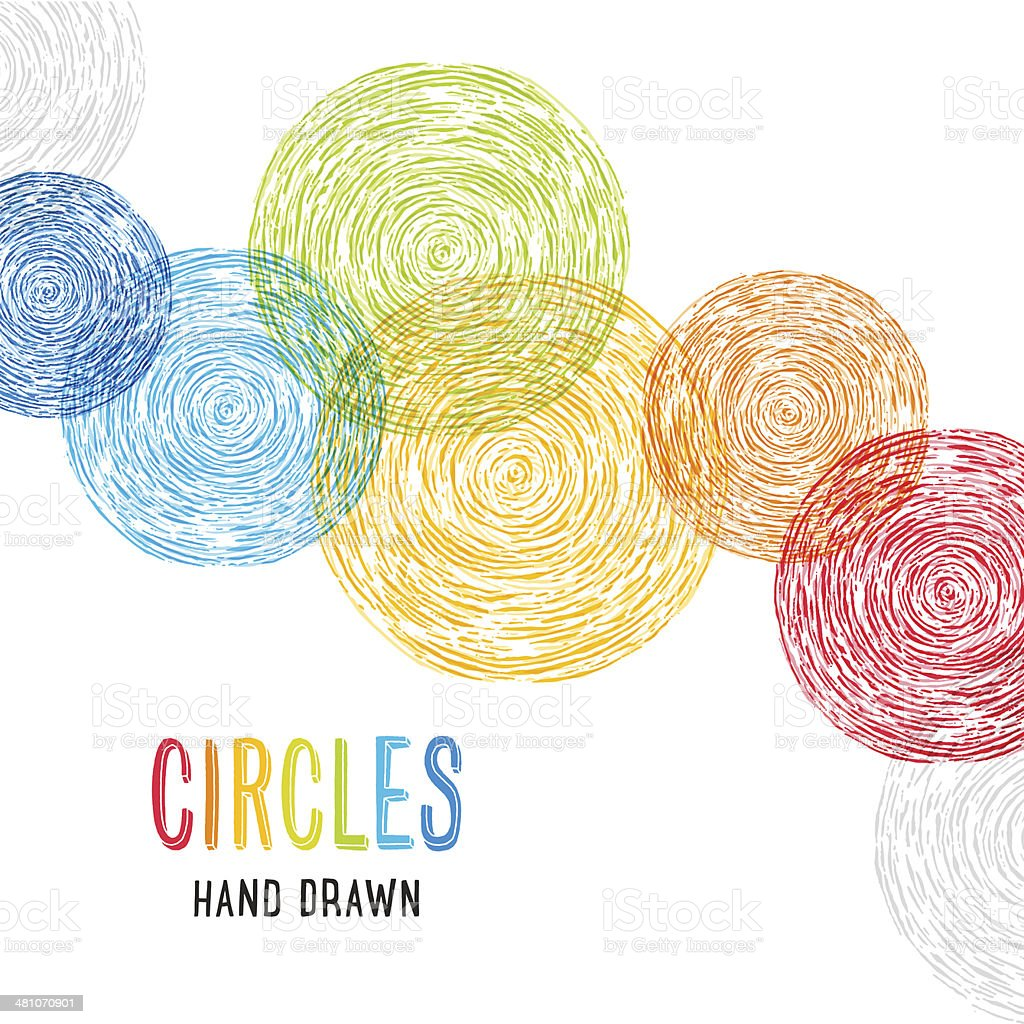 Hand Drawn Circles Background vector art illustration
