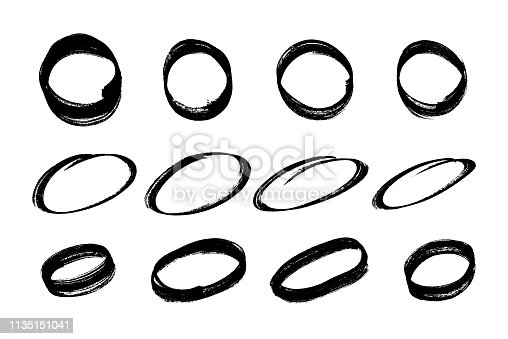 Hand drawn circles. Set of marker pen circles. Vector illustration EPS 10