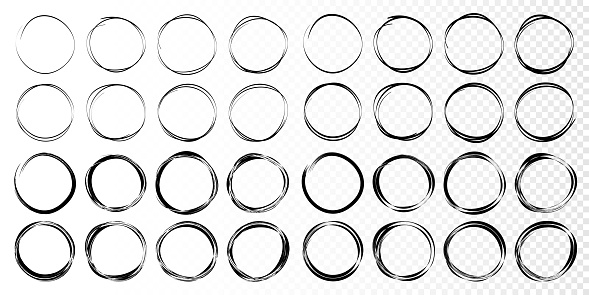 Hand drawn circles sketch frame set. Rounds scribble line circles. Doodle circular logo design elements.  Vector illustrations.
