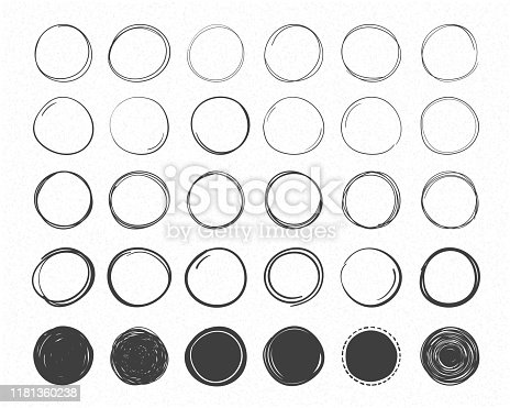 Set of hand drawn circles, round shapes and objects, doodle style, vector eps10 illustration