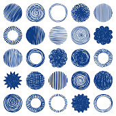Hand drawn circles. Vector design elements. Round frames and backgrounds